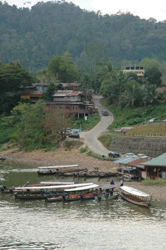 View of Kuala Tahan from across the Tembeling River