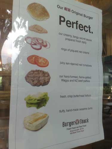The ingredients of the basic burger, showing an odd stacking order.
