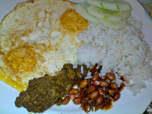 Nasi Lemak at the Mutiara with overdone eggs over easy