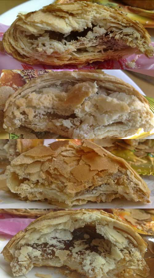 Top to bottom: cross section of biscuits from Sin Joo Heng, Yee Thye, Seng Kee, Sin Eng Heong.