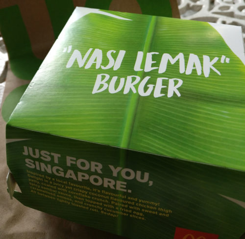 The made-for Singaporeans packaging of the Nasi Lemak burger
